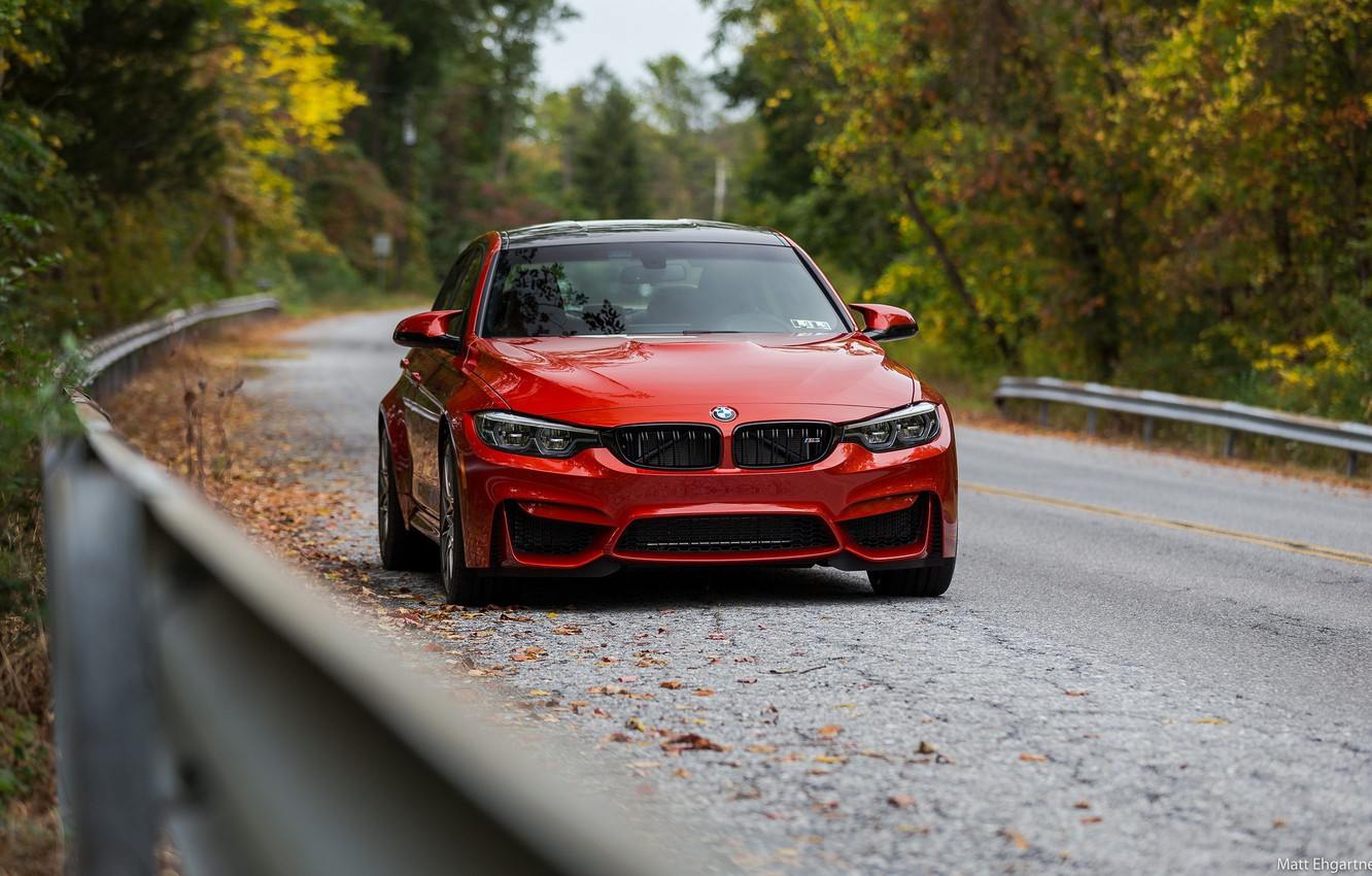Photo wallpaper BMW, Autumn, Road, RED, Forest, F80