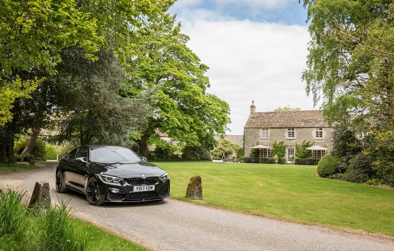 Photo wallpaper auto, trees, black, BMW, track, black, mansion, coupe, chic, metallic, M4