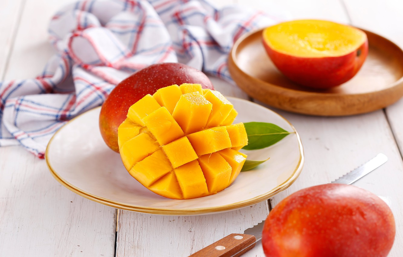 Photo wallpaper knife, mango, napkin