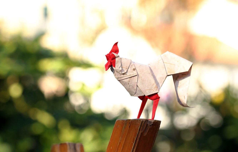 Photo wallpaper paper, origami, cock