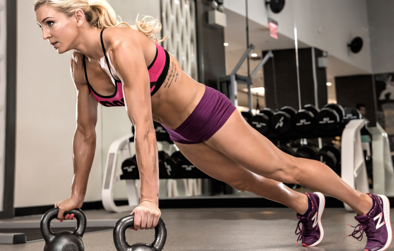 Photo wallpaper blonde, female, fitness, Pushups, gym workout