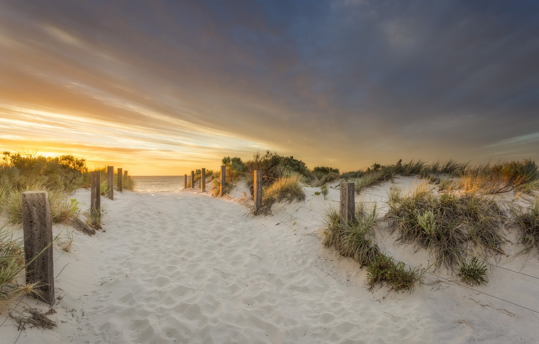 Photo wallpaper sand, sea, beach, sunset, nature, the fence, dunes