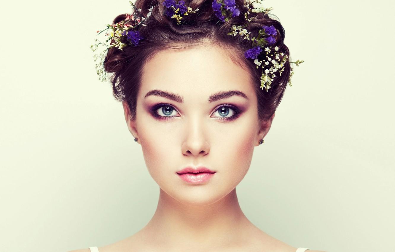 Photo wallpaper eyes, look, girl, flowers, portrait, Sasha, bokeh, Oleg Gekman, Alexander Brocca