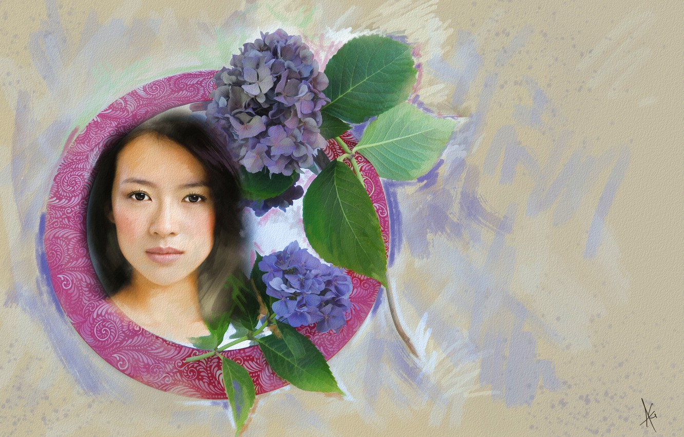 Photo wallpaper look, leaves, girl, flowers, face, background, sweetheart, figure, graphics, portrait, treatment, light, picture, actress, brunette, …