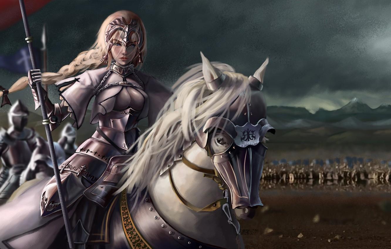 Photo wallpaper girl, horse, anime, warrior, art, Fate/Grand Order, Fate/Grand Campaign