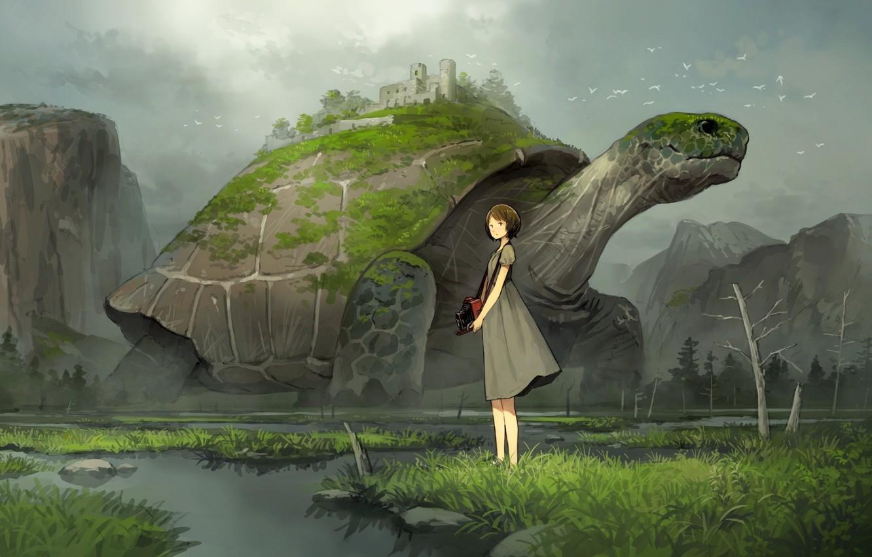 Photo wallpaper girl, turtle, anime, art