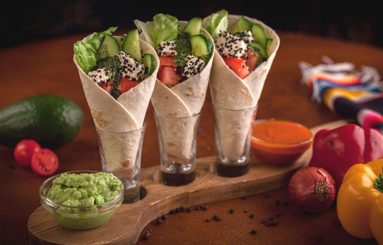 Photo wallpaper pepper, vegetables, avocado, appetizer, pita