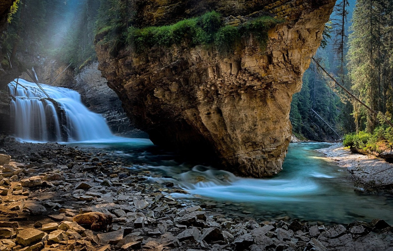 Photo wallpaper Nature, Waterfall, Rock, Shore