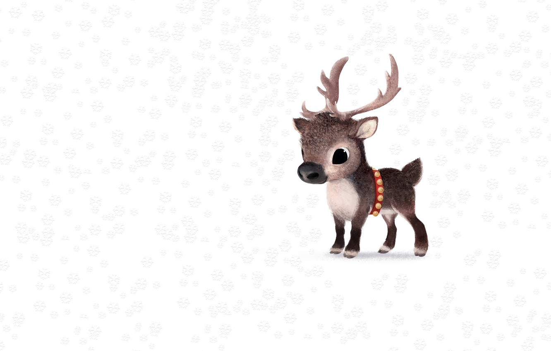 Photo wallpaper winter, snow, new year, deer, art, children's