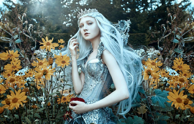 Photo wallpaper girl, flowers, style, mood, crown, Diadema, Princess, long hair, blue hair, Maria Amanda, Bella Kotak, …