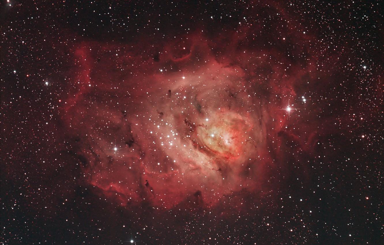 Photo wallpaper in the constellation Sagittarius, The Lagoon Nebula, a giant interstellar cloud