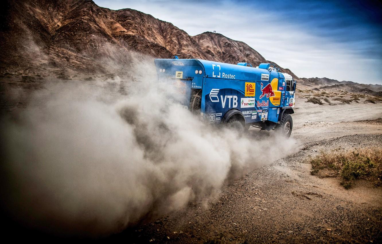 Photo wallpaper The sky, Sand, Nature, Dust, Sport, Speed, Truck, Race, Master, Hills, Beauty, Russia, Kamaz, Rally, …