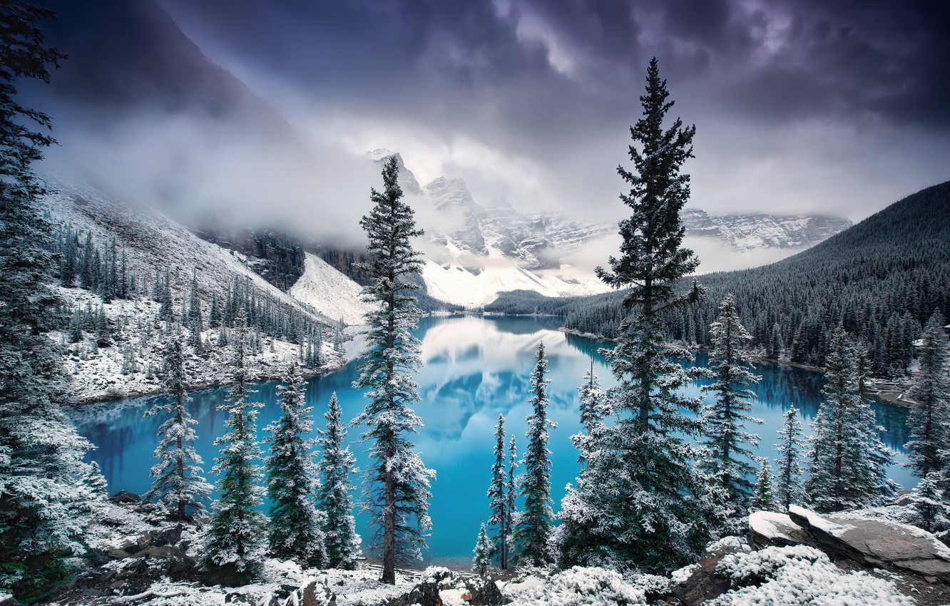 Wallpaper Winter Clouds Snow Trees Mountains Clouds