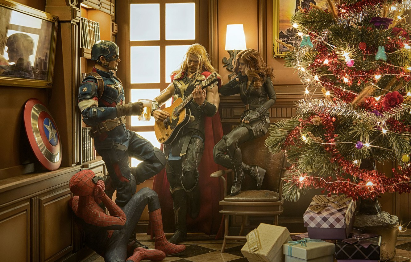 Photo wallpaper Christmas, tree, fun, super heroes, a merry little christmas