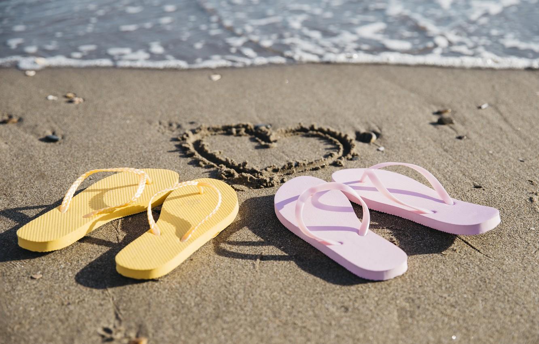 Photo wallpaper sand, sea, wave, beach, summer, love, heart, pair, summer, love, two, beach, sea, heart, romantic, …