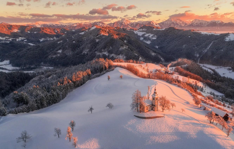 Photo wallpaper winter, snow, landscape, mountains, nature, morning, Czech Republic, Church, forest