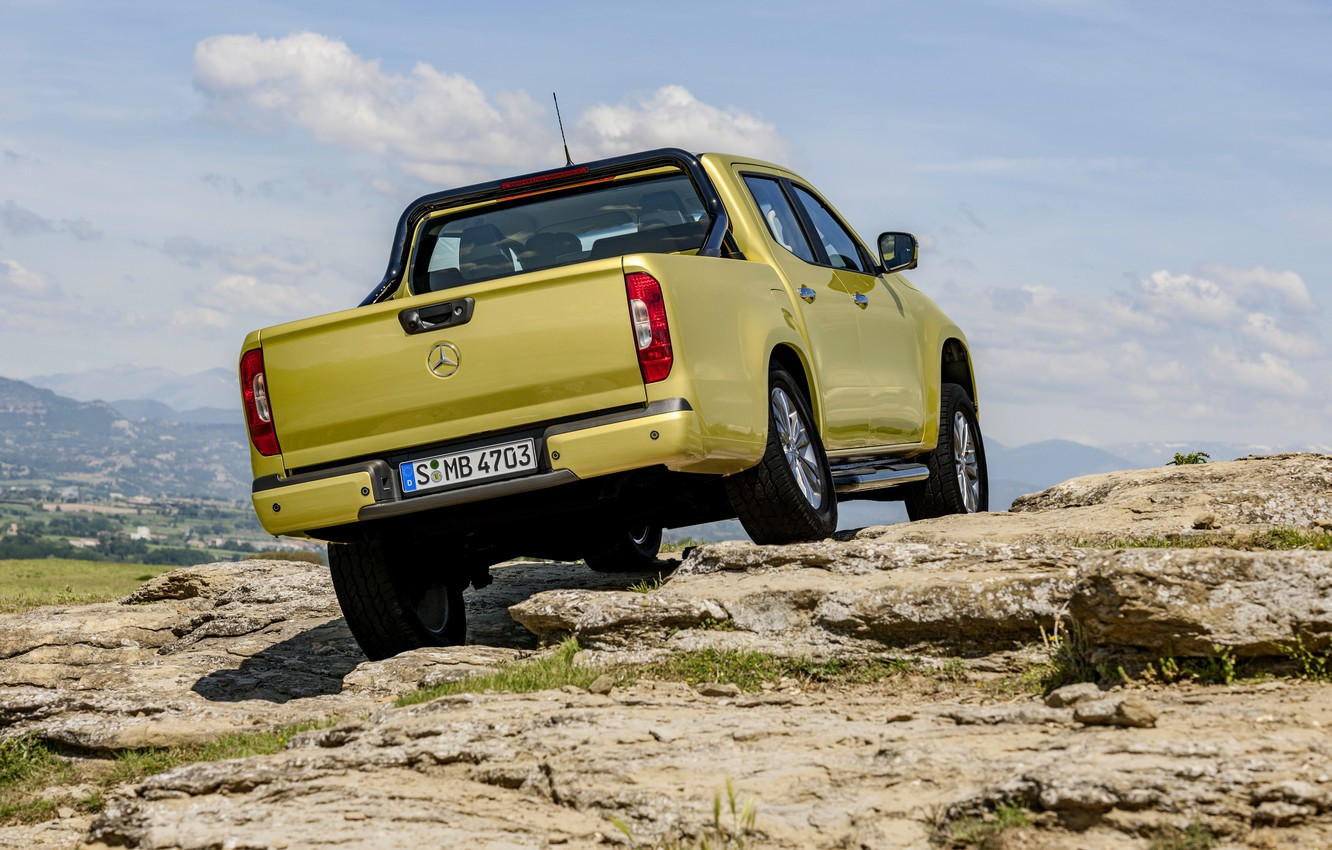 Photo wallpaper the sky, clouds, mountains, yellow, rocks, vegetation, Mercedes-Benz, pickup, feed, 2017, X-Class