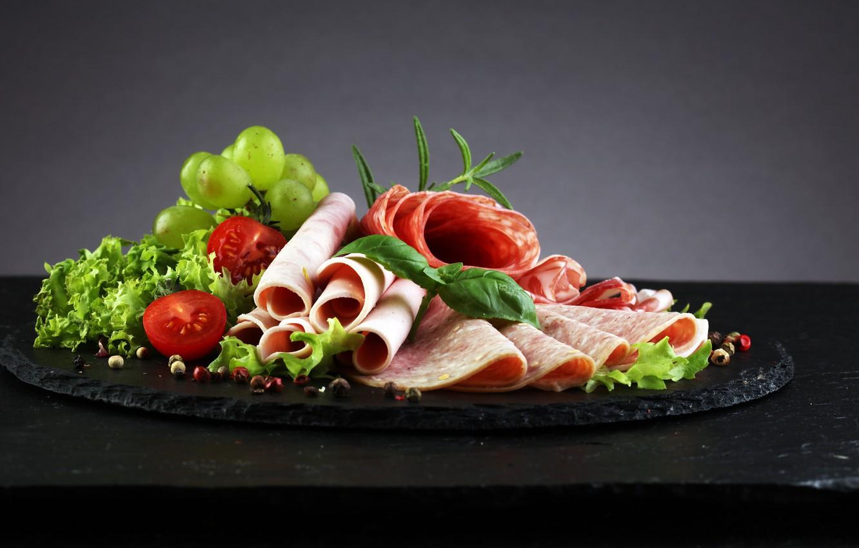 Photo wallpaper grapes, tomato, salad, meats