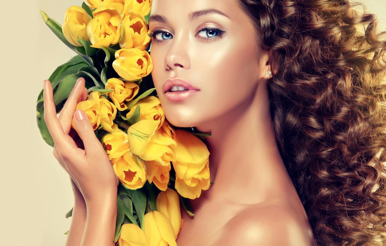 Photo wallpaper look, girl, face, model, hair, bouquet, yellow, hands, makeup, tulips, curls, blue eyes, Sofia Zhuravets'