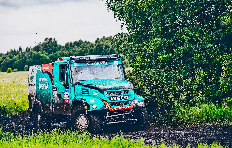 Photo wallpaper Nature, Grass, Sport, Summer, Speed, Race, Dirt, Trucks, Russia, Rally, Rally, IVECO, Silk road, Silk …