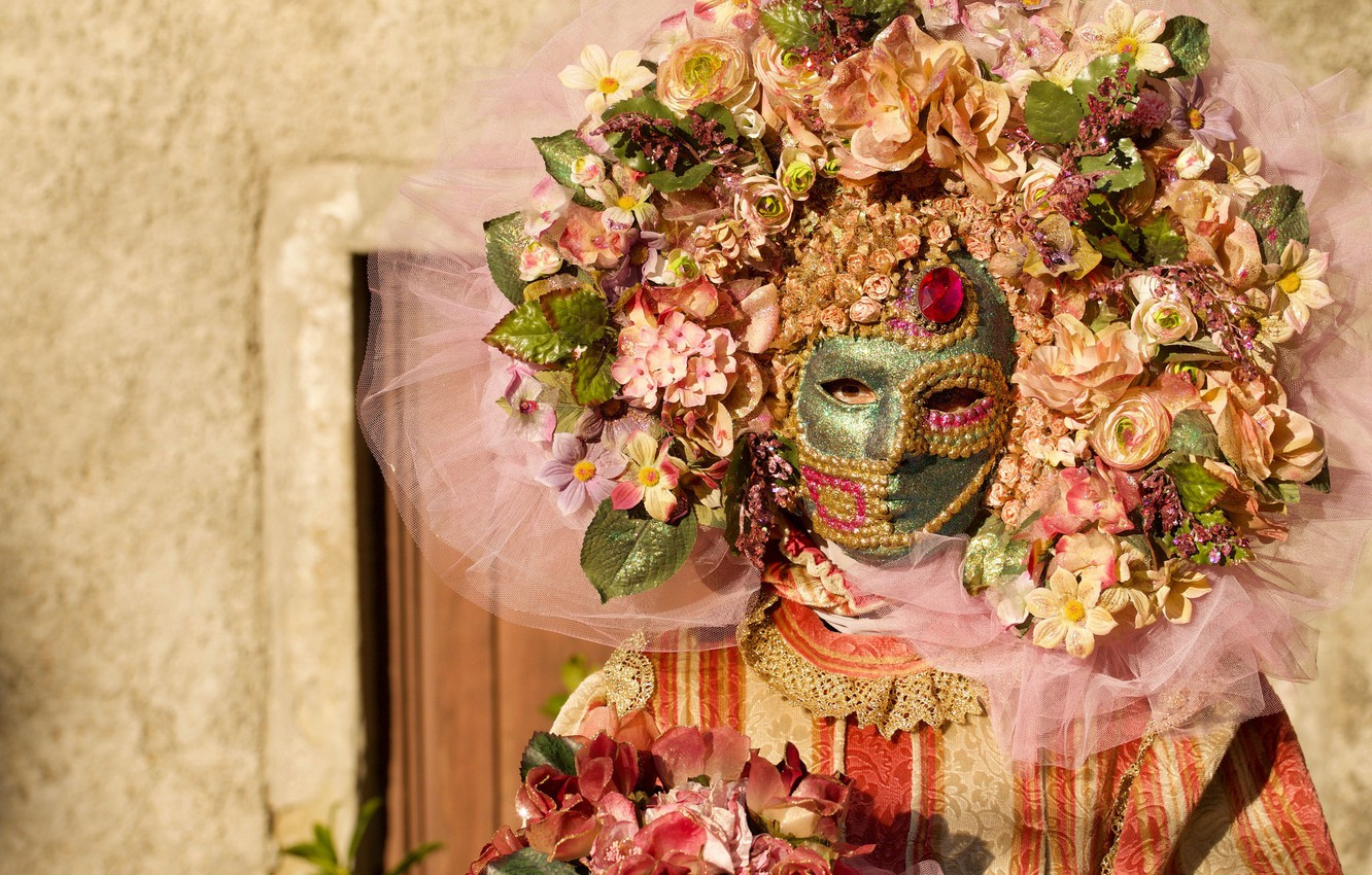 Photo wallpaper flowers, style, mask, costume, carnival