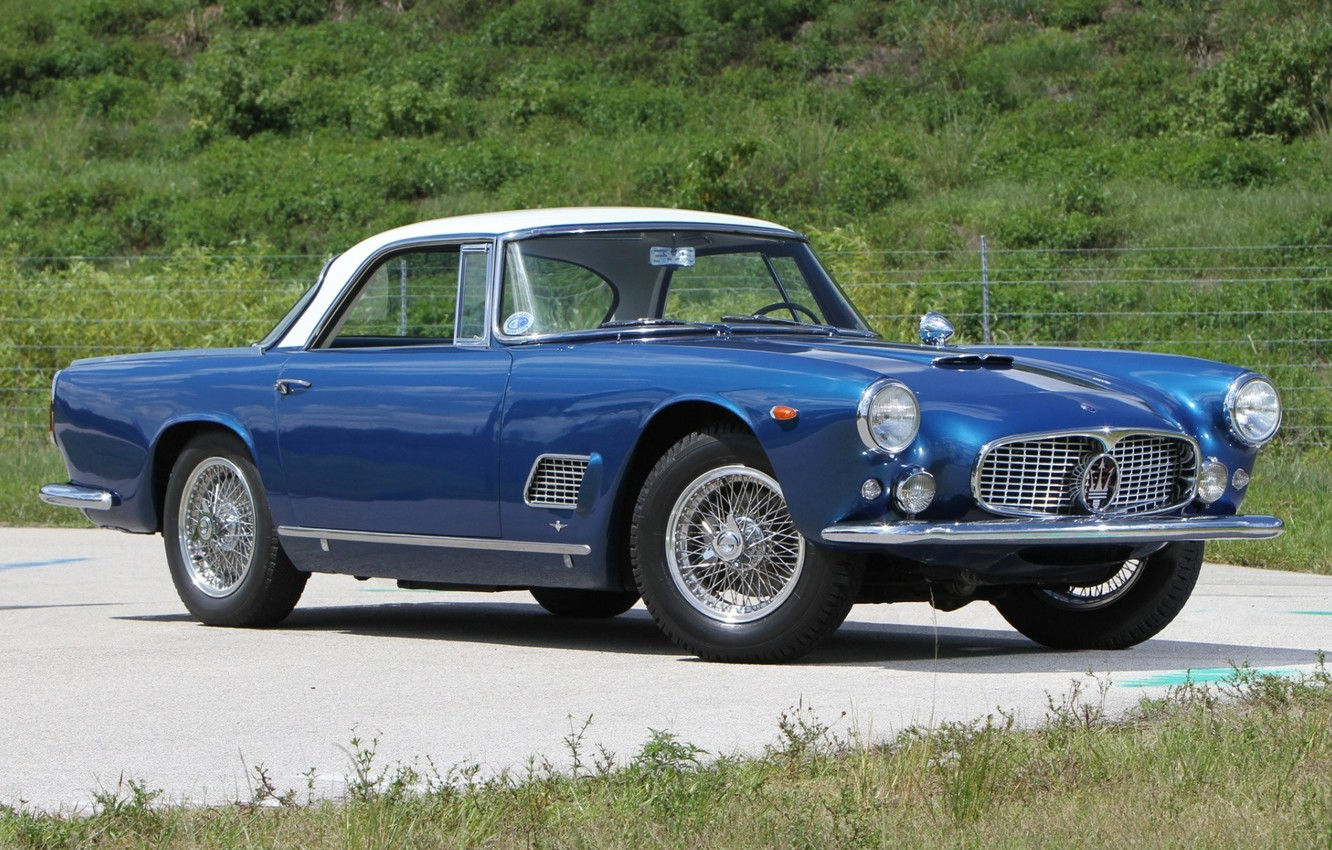 Photo wallpaper Maserati, Roadster, Blue, Old, Convertible, 3500 GT
