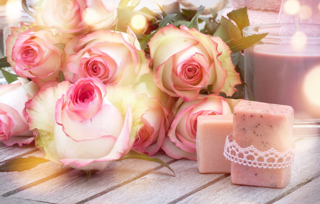 Photo wallpaper roses, love, buds, heart, pink, flowers, romantic, roses