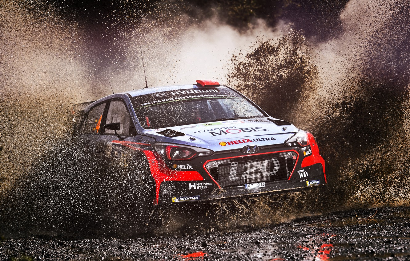 Photo wallpaper Auto, Sport, Machine, Race, Dirt, Squirt, Hyundai, Car, WRC, Rally, Rally, i20, Hyundai i20, Hyundai …