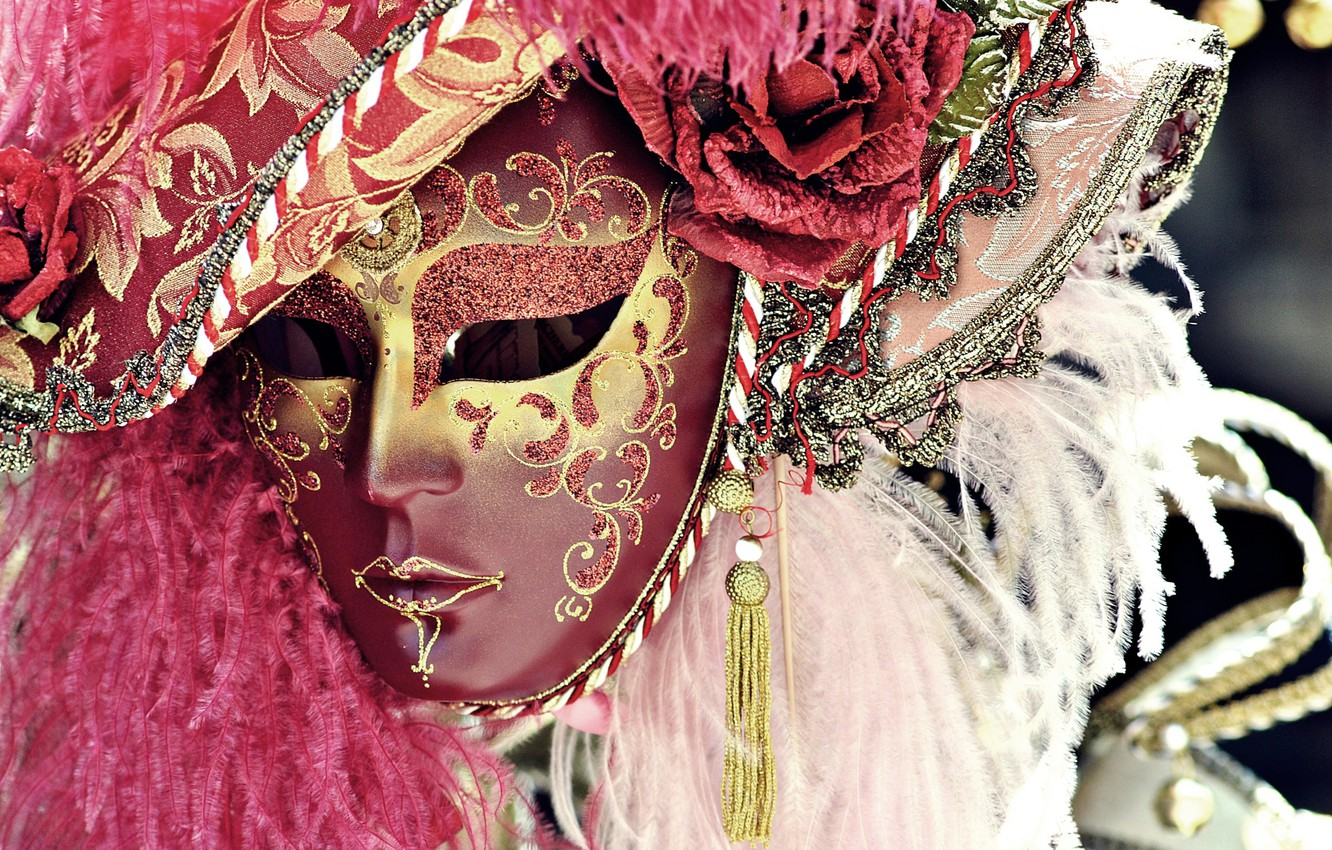 Photo wallpaper feathers, mask, carnival