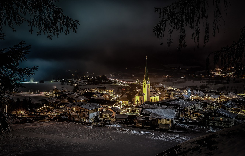 Photo wallpaper winter, night, lights, Austria, Church, Ellmau