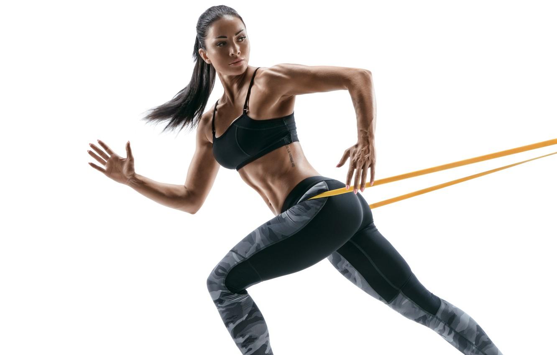 Photo wallpaper white, brunette, workout, fitness