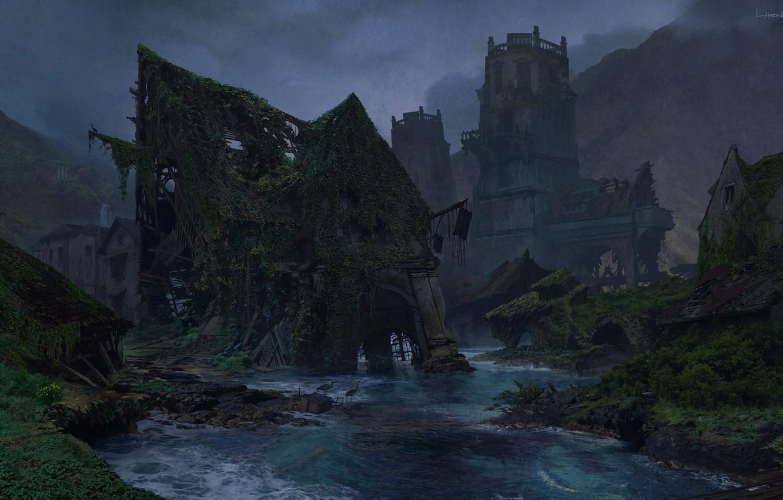 Photo wallpaper mountains, river, ruins, Uncharted 4, Sunken