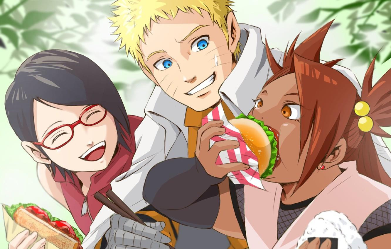 Photo wallpaper Naruto, anime, ninja, shinobi, Uzumaki Naruto, nanadaime hokage, kunoichi, Uchiha Sarada, Boruto: Naruto The Next …