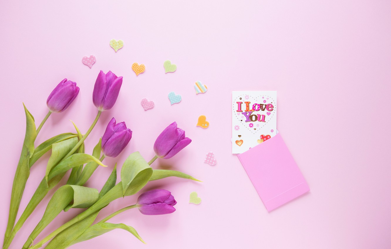Wallpaper Flowers Gift Bouquet Hearts Tulips Love Fresh I