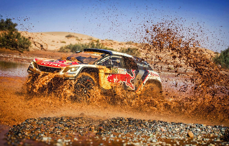 Photo wallpaper Water, Auto, Sport, Machine, Speed, Race, Dirt, Puddle, Peugeot, Squirt, Red Bull, Rally, Dakar, Dakar, …