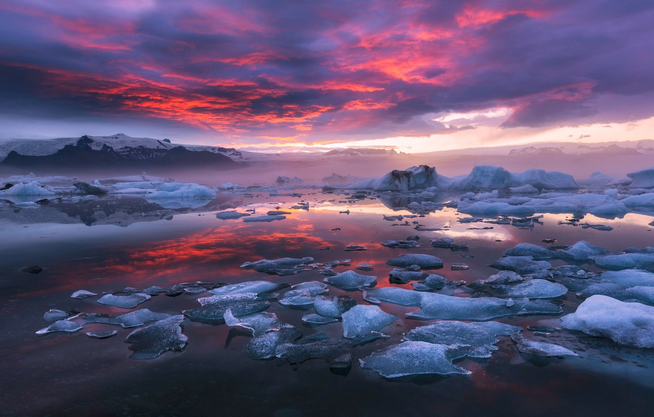 Wallpaper The Sky Clouds Nature Paint Ice The Evening