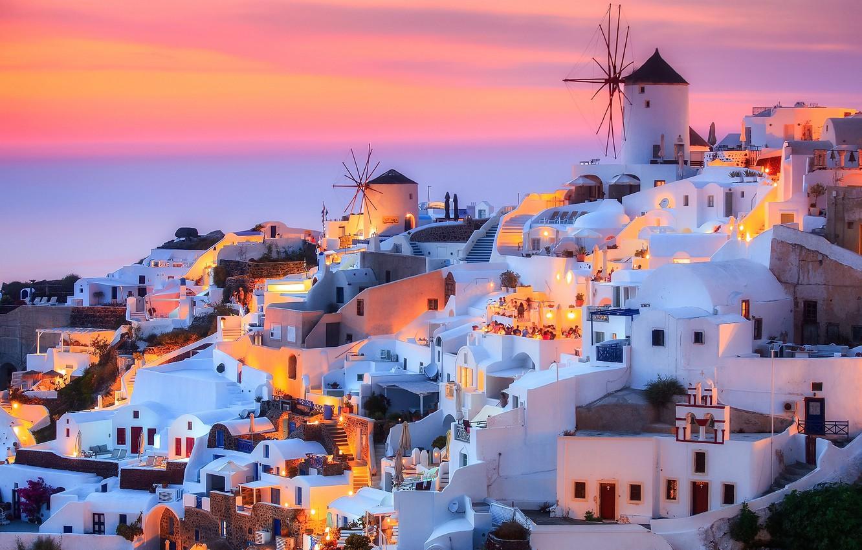 Photo wallpaper the sky, the city, lights, rocks, island, the evening, Santorini, Greece, Thira