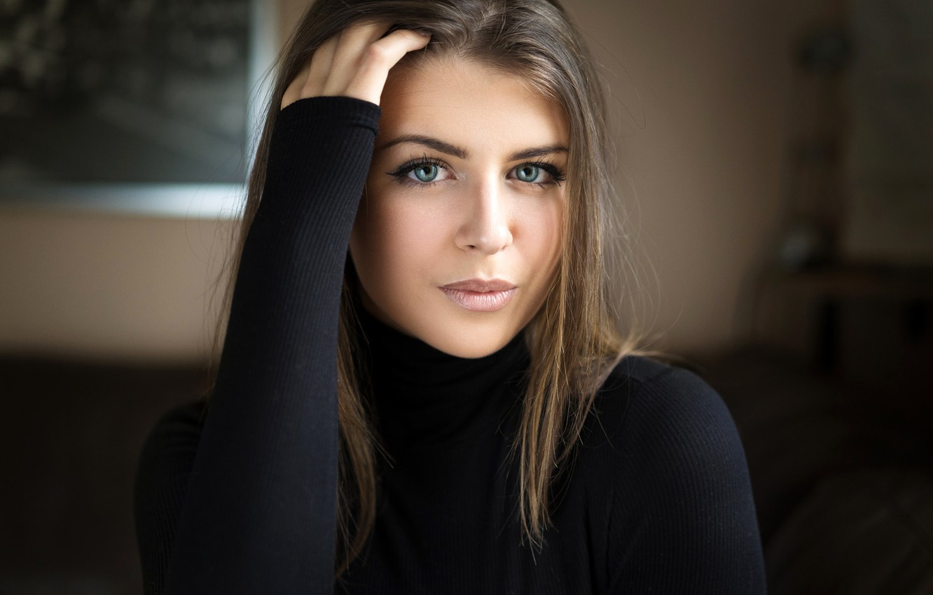 Photo wallpaper look, pose, portrait, makeup, hairstyle, brown hair, beauty, in black, bokeh, Amina, Christoph Smahel