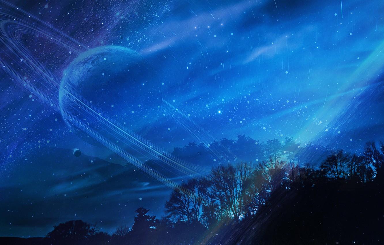 Photo wallpaper the sky, trees, night, planet