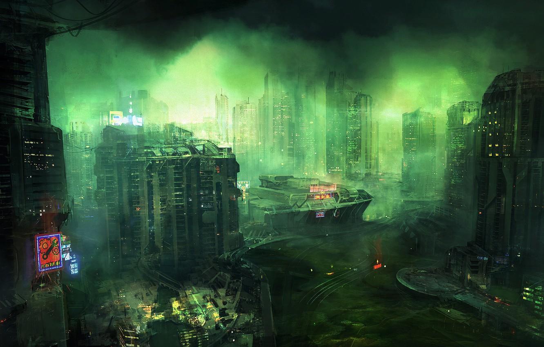 Photo wallpaper the city, smoke, building, Outskirts Skynomads, Cesar Sampedro