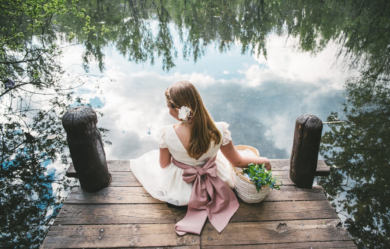 Photo wallpaper water, flowers, mood, dress, girl, bow