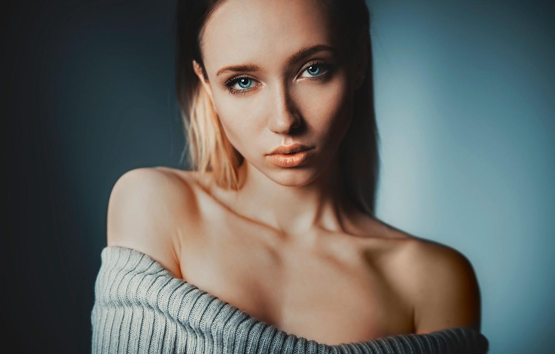 Photo wallpaper look, girl, background, model, portrait, makeup, hairstyle, beautiful, shoulders, sweater, bokeh, Nude