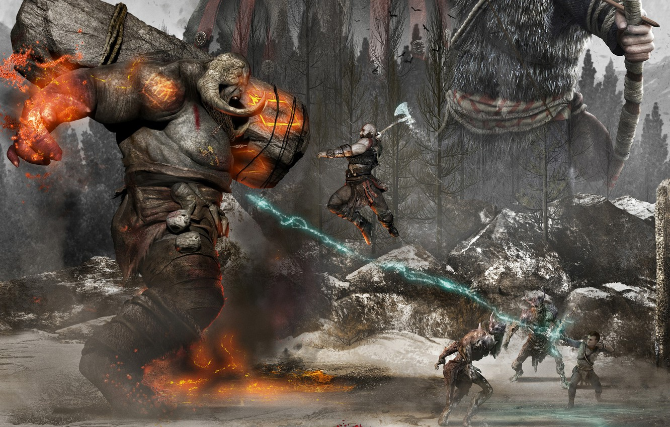 Photo wallpaper forest, monster, warriors, fight, God of War 4