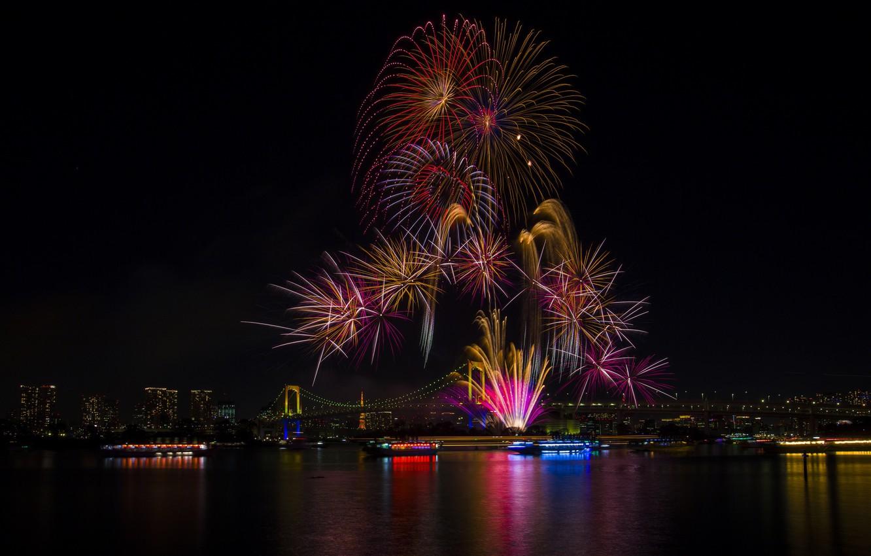 Photo wallpaper lights, holiday, the building, beauty, Tokyo, Japan, Rainbow Bridge, fireworks