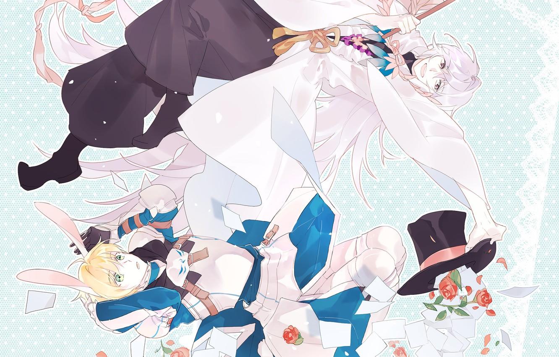Wallpaper card, hat, anime, rabbit, art, guys, characters