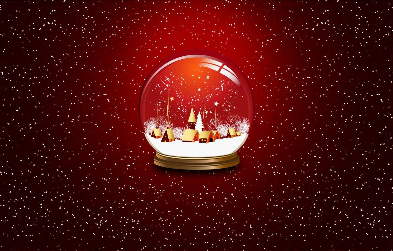 Photo wallpaper Winter, Minimalism, Snow, New Year, Christmas, Ball, Background, Holiday, Mood, Glass globe
