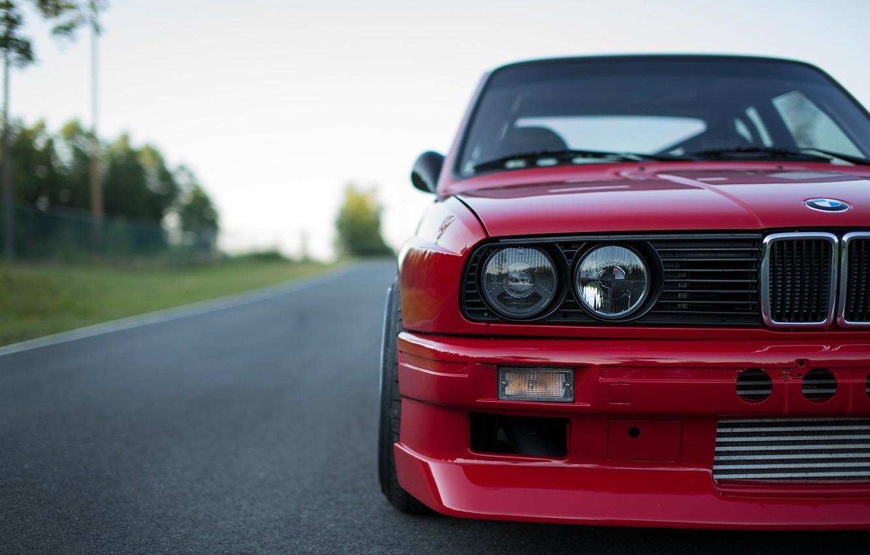 Photo wallpaper Red, Car, Bmw, E30