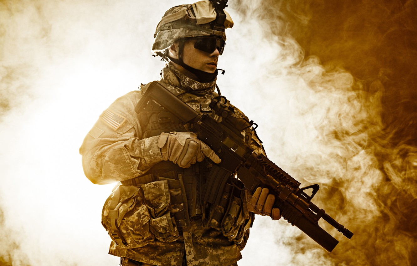 Photo wallpaper weapons, background, smoke, glasses, soldiers, gloves, helmet, camouflage, fighter, equipment, uniform