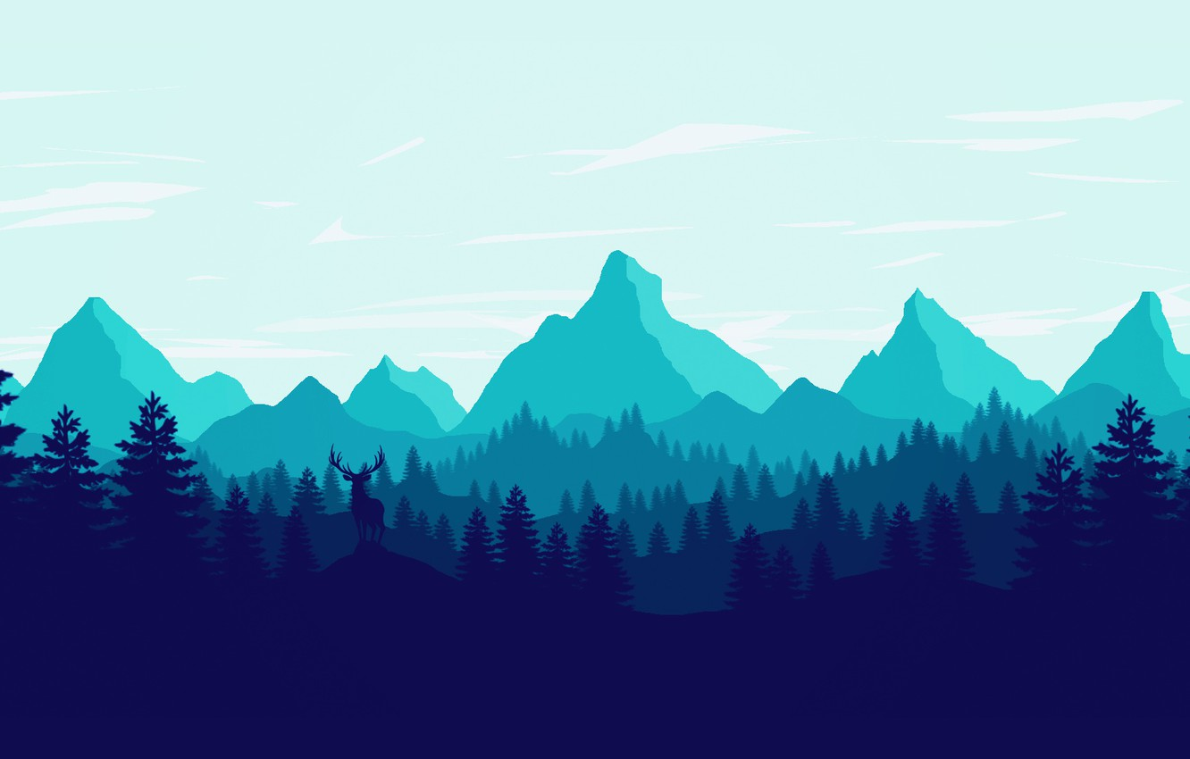 Photo wallpaper Mountains, The game, Forest, View, Silhouette, Hills, Deer, Landscape, Art, Campo Santo, Firewatch, Fire watch