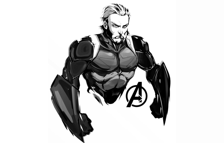 Photo wallpaper Figure, Look, Hero, Superhero, Hero, Art, Art, Marvel, Captain America, Captain America, Comics, Steve Rogers, …